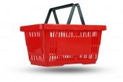 Пластиковая корзина покупательская 20 л красная
